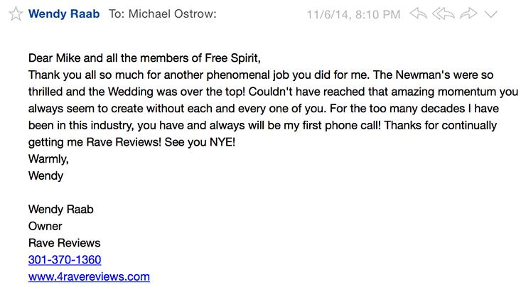 Event Planner Testimonial from November 1, 2014 Wedding